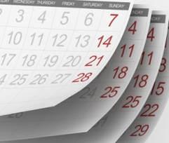 Top view of a calendar
